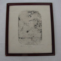 Frumoasa gravura din perioada interbelica semnata, Arbori, Carbune, Realism