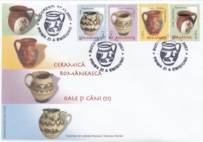 ROMANIA 2007 LP 1788  CERAMICA ROMANEASCA OALE SI CANI II SERIE  FDC