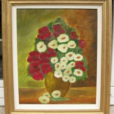 Tablou Natura statica cu Flori Maci si Anemone pictura in ulei pe panza 64x74cm
