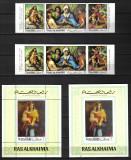 RAS AL KHAIMA JOC. CRACIUN 1970 MI.400-402 A+B +BLOCK 93 A+B    MNH