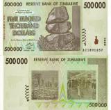 ZIMBABWE 500.000 dollars 2008 UNC!!!