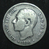 Spania 50 cent 1880 1 Argint