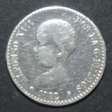 Spania 50 cent 1892 Argint