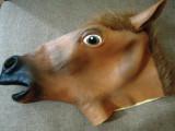 Masca cap de cal, latex, pentru amuzament, petreceri, Halloween!, Marime universala, Maro