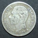 Spania 50 cent 1880 2 Argint