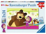 Puzzle 2 in 1 - Masha and The Bear, 48 piese, Ravensburger