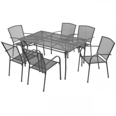 Set de mobilier de exterior, 7 piese, plasa din o?el foto