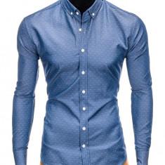 Camasa pentru barbati, albastru, cu model, slim fit, casual, cu guler - k407, L, M, S, XL, Maneca lunga