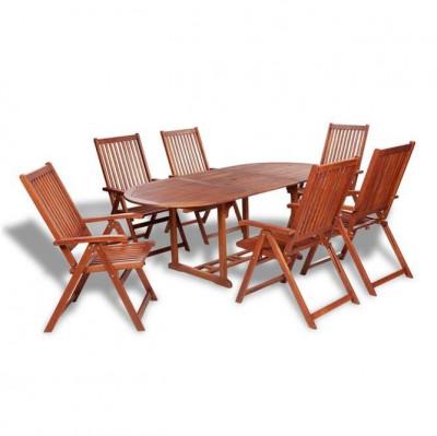 Set mobilier de gradina din lemn 7 piese foto