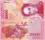 VENEZUELA 20.000 bolivares 13 decembrie 2017 - serie A - banda ingusta UNC!!!