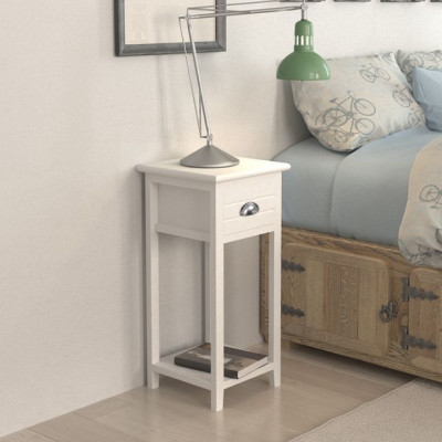 Noptiera/suport pentru telefon cu 1 sertar alb foto