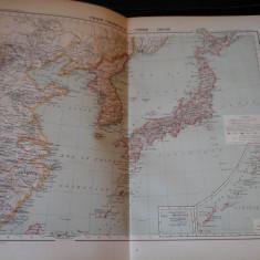 Harta color 37/46 cm -China, Coreea, Jap 45 - Atlas de Geogr. Moderne,Paris,1901