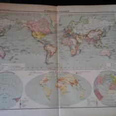 Harta color 37/46 cm -Planisphere 5 -Atlas de Geographie Moderne, Paris, 1901
