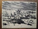 MARCEL CHIRNOAGA, Litografie- PASTORUL, Peisaje, Cerneala, Realism