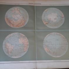 Harta color 37/46 cm -Sphere Terrestre 1-Atlas de Geographie Moderne, Paris,1901