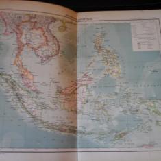 Harta color 37/46 cm - Arh. Asiatic 43 - Atlas de Geographie Moderne, Paris,1901