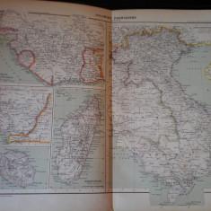 Harta color 37/46 cm - Colonies fr 19 - Atlas de Geographie Moderne, Paris, 1901