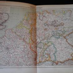 Harta color 37/46 cm - Europe Centr 27 - Atlas de Geographie Moderne, Paris,1901