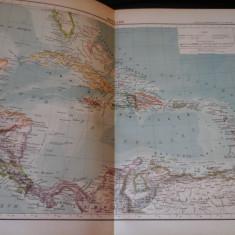 Harta color 37/46 cm - Antile 60 - Atlas de Geographie Moderne, Paris, 1901