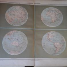 Harta color 37/46 cm -Sphere Terrestre 2-Atlas de Geographie Moderne, Paris,1901