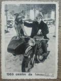 Femeie si caine pe motocicleta// Amintire din Sinaia, 1969, Portrete, Romania 1900 - 1950