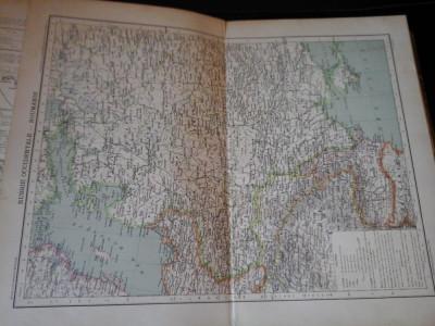Harta color 37/46 cm -Rusia, Romania 34 - Atlas de Geogr. Moderne, Paris, 1901 foto