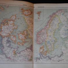 Harta color 37/46 cm - P. Scandinava 32 - Atlas de Geographie Moderne,Paris,1901