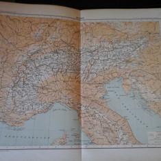 Harta color 37/46 cm - Les Alpes 23 - Atlas de Geographie Moderne, Paris, 1901