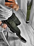 Pantaloni pentru barbati, verde, conici, cu siret negru, bumbac - BB-xlines