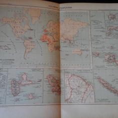 Harta color 37/46 cm - Colonies fr 18 - Atlas de Geographie Moderne, Paris, 1901
