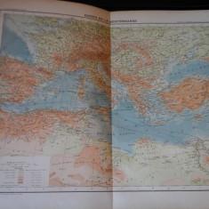 Harta color 37/46 cm - Bazin Medit 31 - Atlas de Geographie Moderne, Paris, 1901