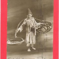 OLTENI  CU  ZARZAVAT-carte postala ilustrata alb negru  circulata 1910, Fotografie