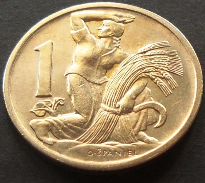 Moneda 1 Coroana - CEHOSLOVACIA, anul 1924   *cod 411 - mai rara! foto mare