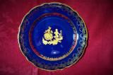 Farfurie portelan Limoges, cobalt aur 24K, colectie, cadou, vintage