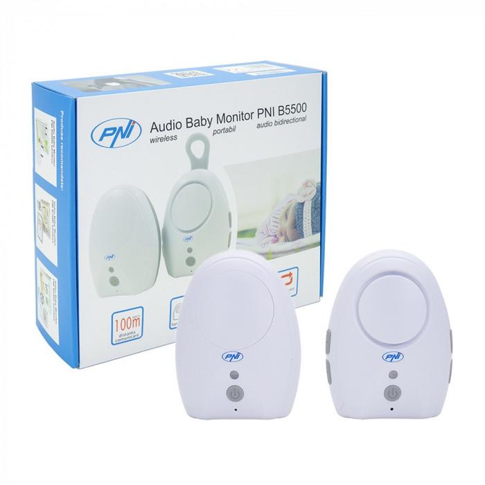 Resigilat : Audio Baby Monitor PNI B5500 wireless, intercom, functie Vox si Pager