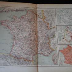 Harta color 37/46 cm - France 12 - Atlas de Geographie Moderne, Paris, 1901