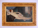 "Nicolae Furduescu (1908-1954) ""Nud pe divan""- 87x60 cm- rama originala, Ulei, Impresionism"