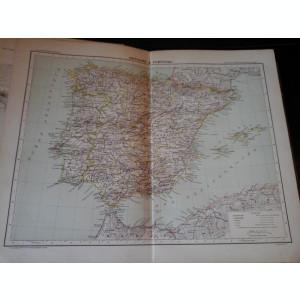 Harta color 37/46 cm - Esp, Portug 25 - Atlas de Geographie Moderne, Paris, 1901