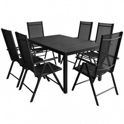 Set mobilier de gradina din aluminiu ?i WPC, 7 piese foto
