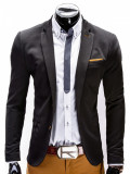 Sacou pentru barbati, negru, casual, slim fit, cu buzunare aplicate, elegant, inchidere doi nasturi - M36