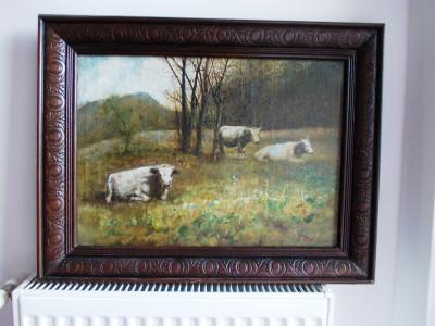 """Ion Marinescu Valsan-(1866-1935), """"Peisaj""""- ulei/ panza foto"""