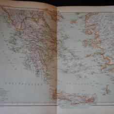 Harta color 37/46 cm - Grecia 30 - Atlas de Geographie Moderne, Paris, 1901