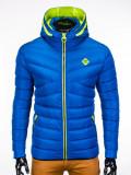 Geaca pentru barbati, albastru, ideal ski, de iarna cu gluga si fermoar, model slim - c208, L, M, S, XL, XXL