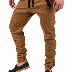 Pantaloni pentru barbati, camel, cu siret negru, banda jos, casual, elastic - P389