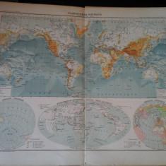 Harta color 37/46 cm -Planisphere 3 -Atlas de Geographie Moderne, Paris,1901