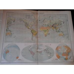 Harta color 37/46 cm -Planisphere 4 -Atlas de Geographie Moderne, Paris, 1901