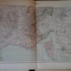 Harta color 37/46 cm - France 16 (S-E) -Atlas de Geographie Moderne, Paris, 1901