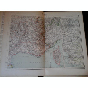 Harta color 37/46 cm - France 16 (S-E) -Atlas de Geographie Moderne, Paris, 1901
