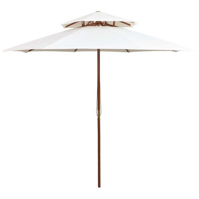 Umbrela de soare dubla, 270x270 cm, stalp de lemn, alb crem foto mare