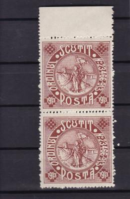 ROMANIA 1913   SILISTRA  SCUTIT  POSTA   PERECHE  MNH  GUMA  ORIGINALA foto